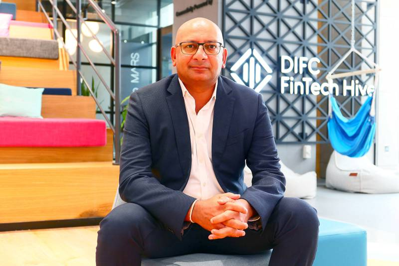 Siddharth Bhandari, co-founder of Deposit Book at the DIFC Innovation Hub, Gate Avenue in Dubai on June 10,2021. Pawan Singh / The National. Story by Michael Fahy