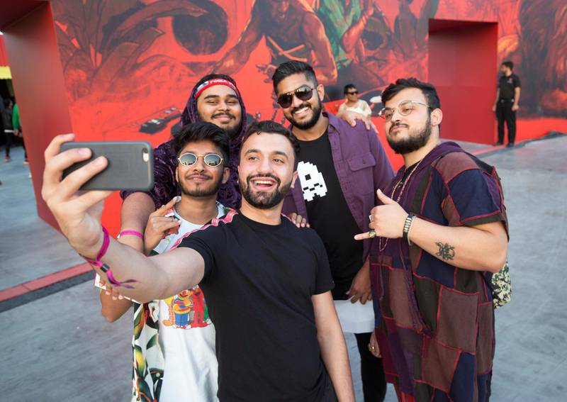 Dubai, United Arab Emirates-  Visitors doing self at the Sole Dubai Festival at D3.  Leslie Pableo for The National for Saeed Saeed's story