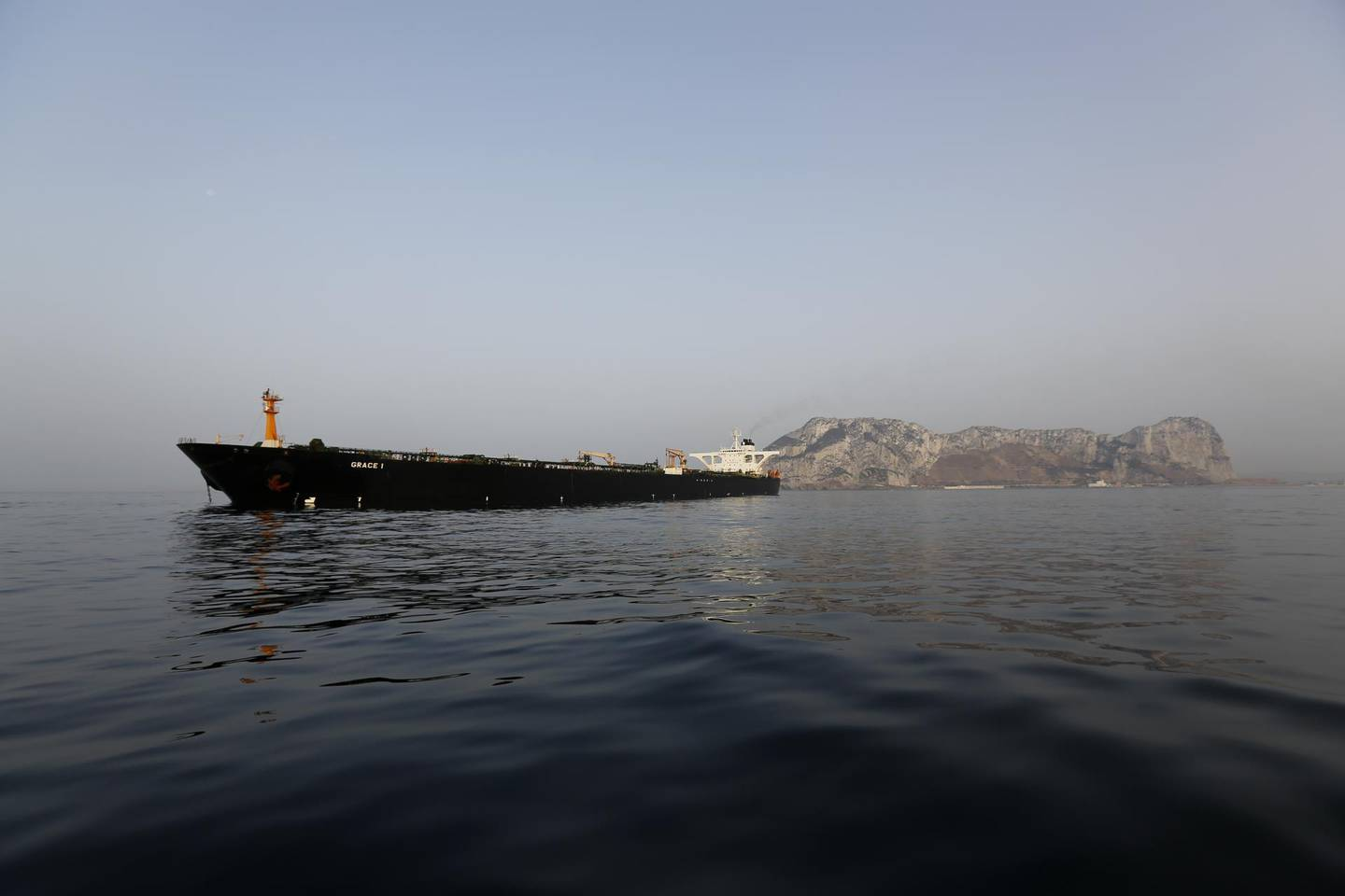 The impounded Iranian crude oil tanker, Grace 1, sits anchored off the coast of Gibraltar, on Saturday, July 20, 2019. Tensions have flared in the Strait of Hormuz in recent weeks as Iran resists U.S. sanctions that are crippling its oil exports and lashes out after the seizure on July 4 of one of its ships near Gibraltar. Photographer: Marcelo del Pozo/Bloomberg
