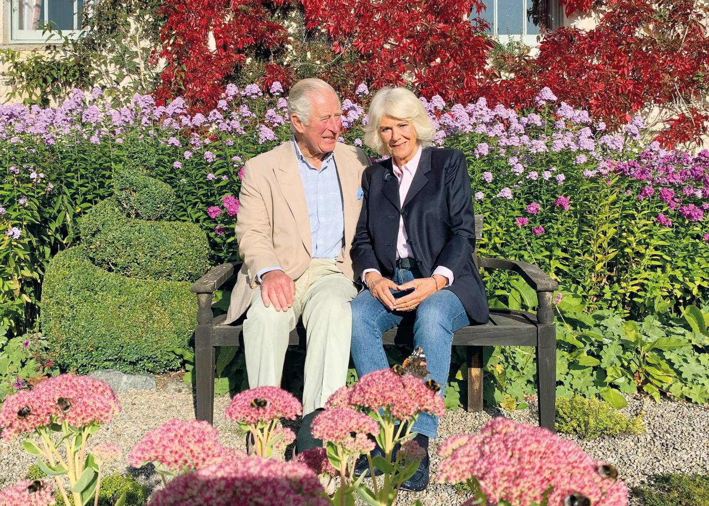 Undated handout image provided by Clarence House of the 2020 Christmas card of Britain's Prince Charles and Camilla, Duchess of Cornwall, which features a photograph taken by a member of their staff in the early autumn, at Birkhall, Scotland, Britain. The Prince of Wales and The Duchess of Cornwall/Clarence House via REUTERS THE PHOTOGRAPH MUST NOT BE DIGITALLY ENHANCED, MANIPULATED OR MODIFIED IN ANY MANNER OR FORM AND MUST INCLUDE ALL OF THE INDIVIDUALS IN THE PHOTOGRAPH WHEN PUBLISHED. THIS IMAGE IS PROVIDED FOR FREE EDITORIAL USE UNTIL JANUARY 31, 2021 WHEN IT MUST BE REMOVED FROM ALL SYSTEMS AND THOSE OF YOUR SUBSCRIBERS. USE OF THE IMAGE AFTER THIS DATE WILL REQUIRE PERMISSION FROM CLARENCE HOUSE. THIS PHOTOGRAPH IS STRICTLY FOR EDITORIAL USE ONLY, NO COMMERCIAL USE, INCLUDING SOUVENIRS, COVERS, ADVERTISING, PROMOTIONAL OR NON-EDITORIAL USE PERMITTED. THE PHOTOGRAPH CANNOT BE CROPPED, MANIPULATED OR ALTERED IN ANY WAY. NO CHARGE SHOULD BE MADE FOR THE SUPPLY, RELEASE OR PUBLICATION OF THE PHOTOGRAPH. THIS IMAGE HAS BEEN SUPPLIED BY A THIRD PARTY. MANDATORY CREDIT. NO RESALES. NO ARCHIVES