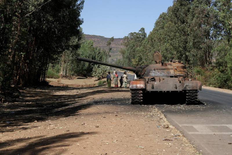 FILE PHOTO: A burned tank stands near the town of Adwa, Tigray region, Ethiopia, March 18, 2021. REUTERS/Baz Ratner/File Photo