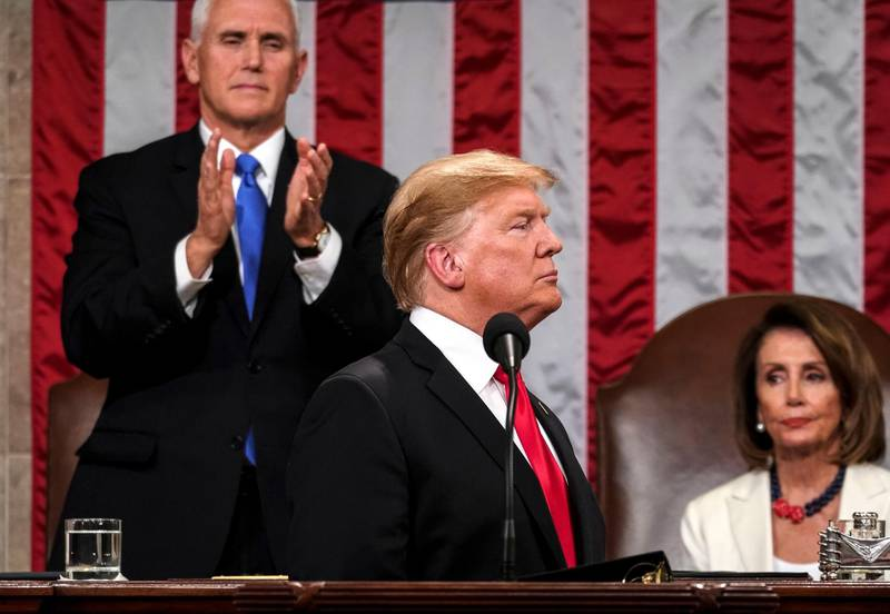 epa07346743 US President Donald J. Trump delivers the State of the Union address with Vice President Mike Pence and Speaker of the House Nancy Pelosi at the Capitol in Washington, DC, USA, 05 February 2019.  EPA/Doug Mills / POOL