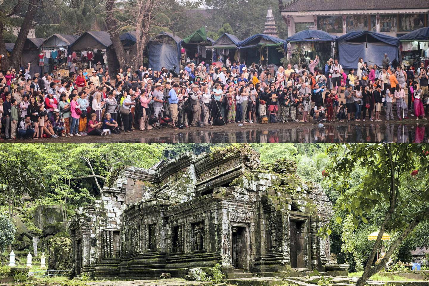 ANGKOR WAT, SIEM REAP, CAMBODIA - 2015/02/13: Tourist gather to watch the sunrise at Angkor Wat complex Saturday Feb. 14, 2015.   A stable Cambodia has meant that each year since records were kept in 1993 the number of tourist to visit has grown from about 100,000 a year to over four million. The larger percentage of current visitors is from Vietnam with China coming in second place.  Many officials are now admitting that the temples near Siem Reap, Cambodia,  that survived 1000 plus years of being swallow by the jungle are now in peril from too many tourist walking and touching the ancient stones. (Photo by David Longstreath/David Longstreath/LightRocket via Getty Images)