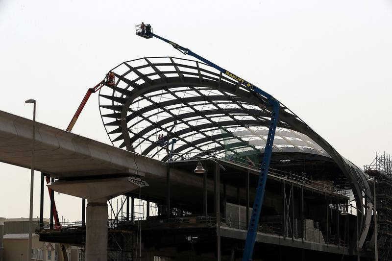 DUBAI , UNITED ARAB EMIRATES , JUNE 28 – 2018 :- Workers working at the under construction Dubai metro station EXPO 2020 route going from Discovery Gardens and Al Furjan area in Dubai. ( Pawan Singh / The National )  For Standalone / Big Picture