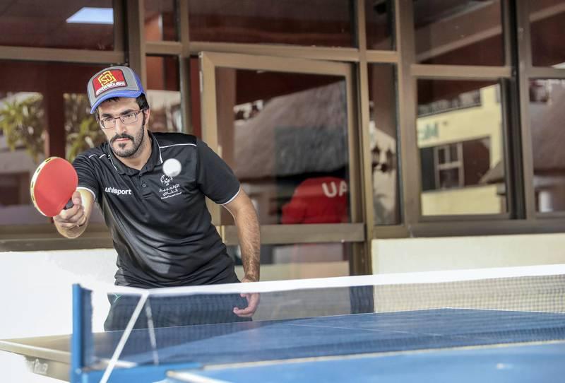 Al Ain, UAE, March 8, 2018.  UAE Special Olympics team training sessions.  UAE Men's  ping-pong player, Khaled El Shahie.Victor Besa / The NationalNationalReporter; Ramola Talwar