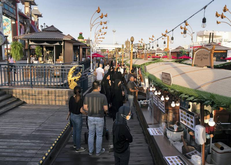 DUBAI, UNITED ARAB EMIRATES. 25 OCTOBER 2020. A packed Floating Market at Global Village. GV celebrates it's 25th season this year.(Photo: Reem Mohammed/The National)Reporter:Section: