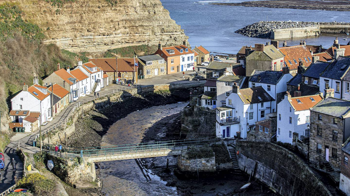 Tuesday 3rd  November 2020 Picture Credit Charlotte Graham   Picture Shows The Dividing  Bridge   Staithes is a seaside village in the Scarborough borough of North Yorkshire, England. Easington and Roxby Becks, two brooks that run into Staithes Beck, form the border between the Borough of Scarborough and Redcar and Cleveland. The area located on the Redcar and Cleveland side is called Cowbar