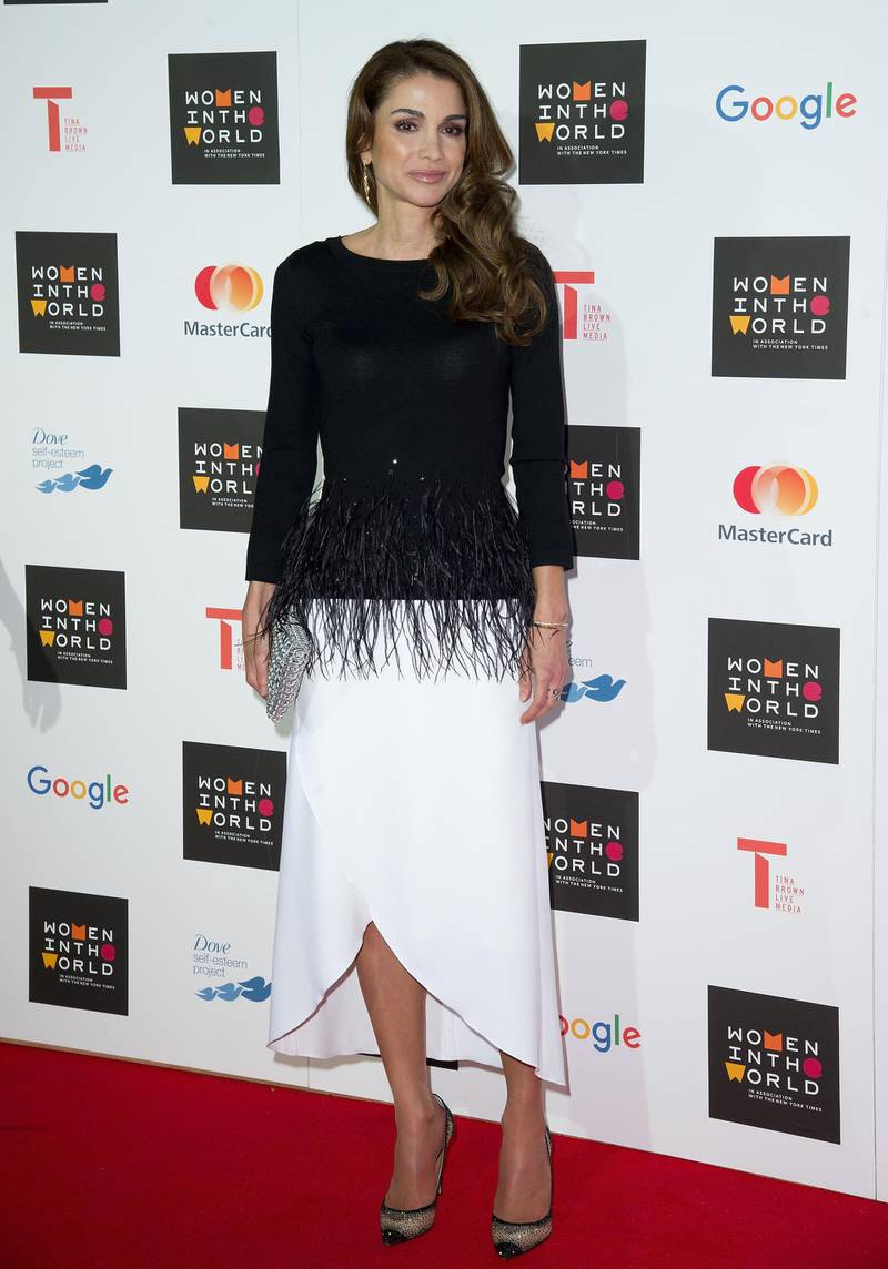 LONDON, ENGLAND - OCTOBER 08:  Queen Rania of Jordan attends day 1 of the Women in the World summit at Cadogan Hall on October 8, 2015 in London, England.  (Photo by Eamonn M. McCormack/Getty Images)