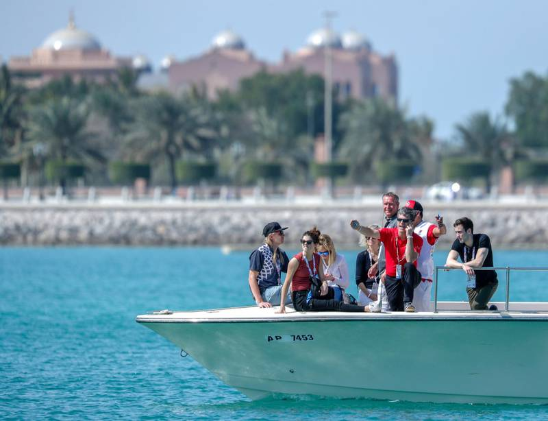 Abu Dhabi, March 20, 2019.  Special Olympics World Games Abu Dhabi 2019.  Sailing Level 1.  Timothy Shriver, Special Olympics Chairman watches the sailing competition.Victor Besa/The National
