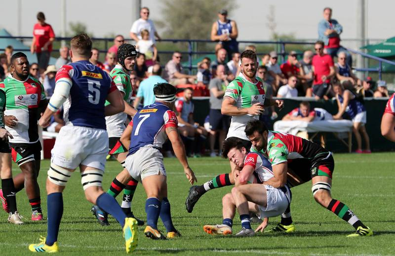 DUBAI , UNITED ARAB EMIRATES , March 29 – 2019 :- UAE Premiership final rugby match between Abu Dhabi Harlequins (green) v Jebel Ali Dragons (blue) going on at the Sevens Rugby Ground on Dubai- Al Ain road in Dubai.( Pawan Singh / The National ) For Sports/Online. Story by Paul