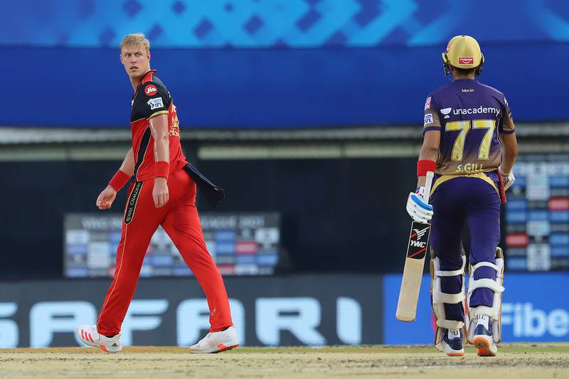 Kyle Jamieson of Royal Challengers Bangalore looks on after taking the wicket of Shubman Gill of Kolkata Knight Riders during match 10 of the Vivo Indian Premier League 2021 between the Royal Challengers Bangalore and the Kolkata Knight Riders held at the M. A. Chidambaram Stadium, Chennai on the 18th April 2021.  Photo by Faheem Hussain / Sportzpics for IPL