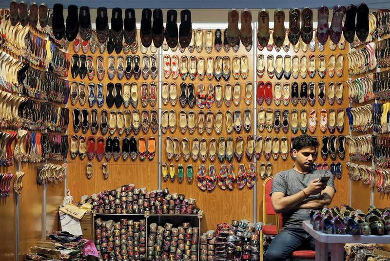 ABU DHABI , UNITED ARAB EMIRATES – July 2 , 2016 : One of the shoe shop at the Ramadan night market held at ADNEC in Abu Dhabi.  ( Pawan Singh / The National ) For Focal Point *** Local Caption ***  PS0207- FOCAL POINT01.jpgPS0207- FOCAL POINT01.jpg