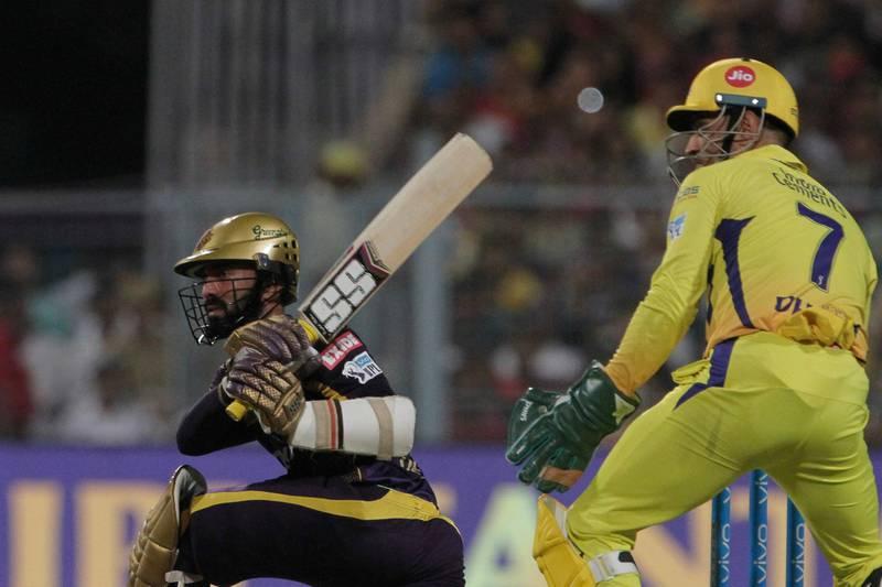 Kolkata Knight Riders' Dinesh Karthik bats during the VIVO IPL cricket T20 match against Chennai Super Kings in Kolkata, India, Thursday, May 3, 2018. (AP Photo/Bikas Das)