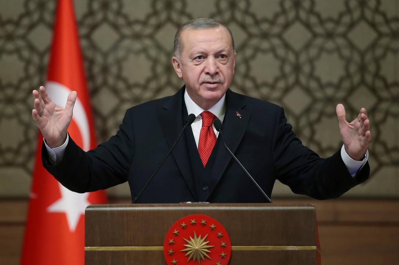 Turkey's President Recep Tayyip Erdogan speaks during a gathering of Turkish ambassadors, in Ankara, Turkey, Monday, Nov. 9, 2020. (Turkish Presidency via AP, Pool)