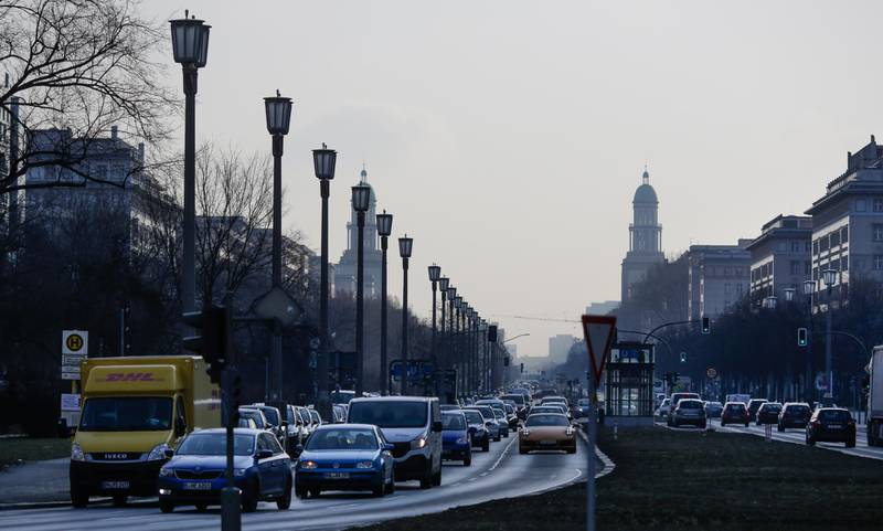 Cars drive on a main road in Berlin, Germany, Wednesday, Feb. 28, 2018. The German court ruled Tuesday that cities can impose driving bans on diesel cars to combat air pollution, a decision that could affect millions of drivers and the country's powerful auto industry. (AP Photo/Markus Schreiber)