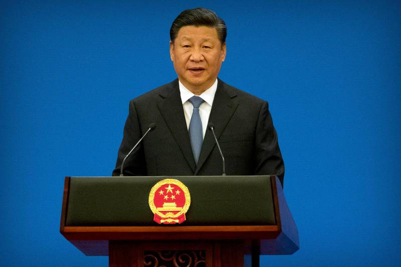 Chinese President Xi Jinping speaks during the opening session of the 8th Ministerial Meeting of the China-Arab States Cooperation Forum in Beijing, Tuesday, July 10, 2018. China's President Xi Jinping has pledged more than $23 billion in lines of credit, loans and humanitarian assistance to Arab countries in a major push for influence in the region. (AP Photo/Mark Schiefelbein)