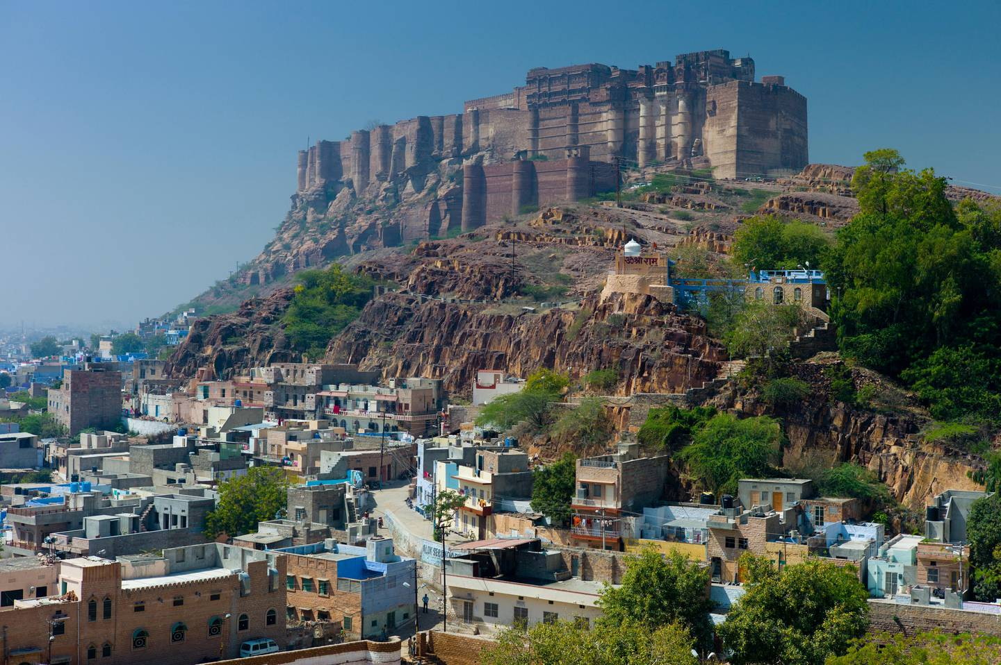 Mehrangarh Fort, Citadel of the Sun, and the Blue City of Jodhpur in Rajasthan, Northern India. Getty Images