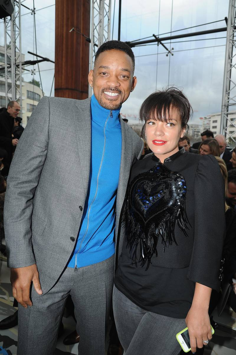 PARIS, FRANCE - JANUARY 16:  (L-R) Will Smith and Lily Allen attend the Louis Vuitton Menswear Fall/Winter 2014-2015 Show as part of Paris Fashion Week on January 16, 2014 in Paris, France.  (Photo by Pascal Le Segretain/Getty Images)