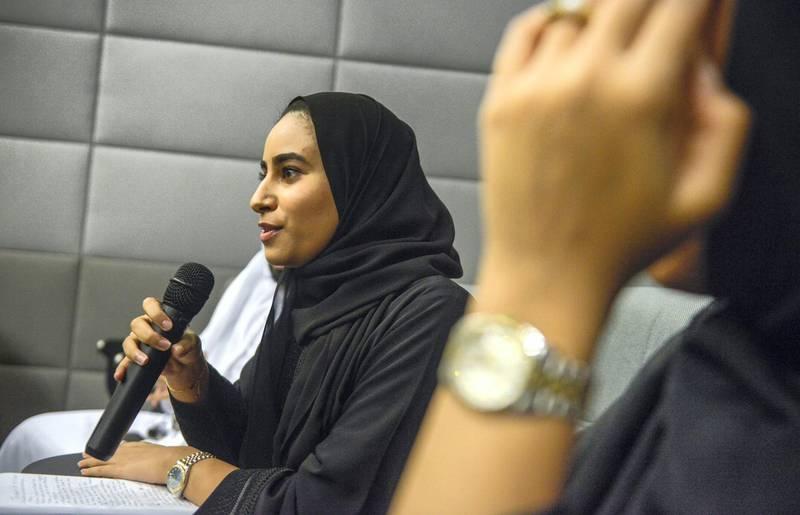 Abu Dhabi, United Arab Emirates - Students question multilateral diplomacy topics at the Emirates Diplomatic Academy on January 14, 2018. (Khushnum Bhandari/ The National)