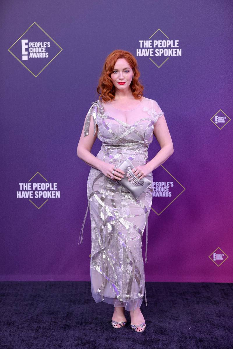 SANTA MONICA, CALIFORNIA - NOVEMBER 15: 2020 E! PEOPLE'S CHOICE AWARDS -- In this image released on November 15, Christina Hendricks arrives at the 2020 E! People's Choice Awards held at the Barker Hangar in Santa Monica, California and on broadcast on Sunday, November 15, 2020. (Photo by Rich Polk/E! Entertainment/NBCU Photo Bank via Getty Images)