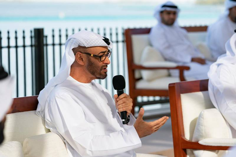 ABU DHABI, UNITED ARAB EMIRATES - March 16, 2020: HH Sheikh Mohamed bin Zayed Al Nahyan, Crown Prince of Abu Dhabi and Deputy Supreme Commander of the UAE Armed Forces (C), delivers a speech about the UAE's Covid19 response, during a Sea Palace barza.  ( Mohamed Al Hammadi / Ministry of Presidential Affairs ) ---