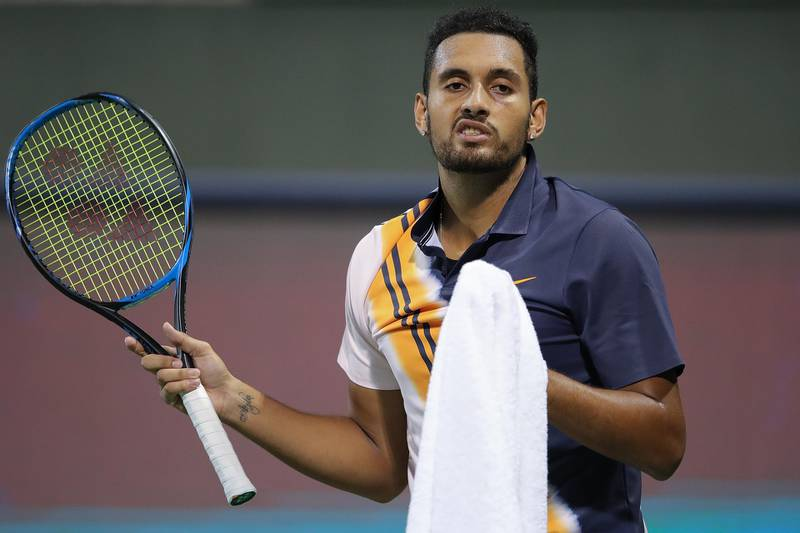 SHANGHAI, CHINA - OCTOBER 08:  Nick Kyrgios of Australia reacts after a point against Bradley Klahn of the US during their men's single round of 64 match in 2018 Rolex Shanghai Masters on Day 2 at Qi Zhong Tennis Centre at Qi Zhong Tennis Centre on October 8, 2018 in Shanghai, China.  (Photo by Lintao Zhang/Getty Images)