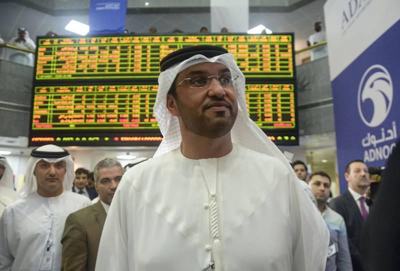 Abu Dhabi, United Arab Emirates -  Sultan Al Jaber, CEO of ADNOC attending the stock exchange listing in Abu Dhabi Securities Exchange on December 13, 2017. (Khushnum Bhandari/ The National)