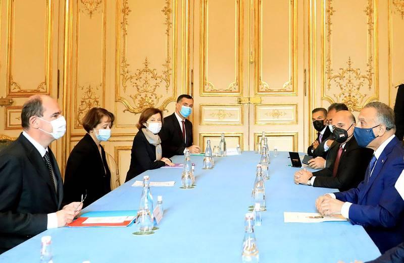 French Prime Minister Jean Castex and Iraqi Prime Minister Mustafa al-Kadhimi sit for talks in Paris, France. Courtesy