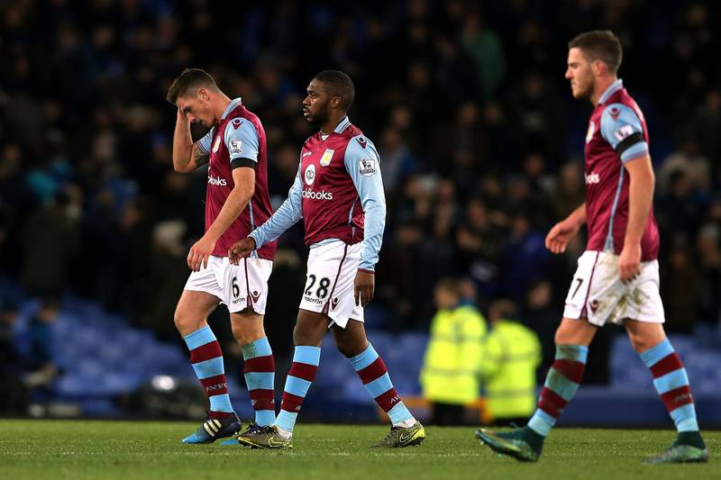 LIVERPOOL, ENGLAND - NOVEMBER 21: (L to R) Ciaran Clark, Charles N'Zogbia and Jordan Veretout of Aston Villa leave the pitch after his team's 0-4 defeat in the Barclays Premier League match between Everton and Aston Villa at Goodison Park on November 21, 2015 in Liverpool, England.  (Photo by Nigel Roddis/Getty Images)