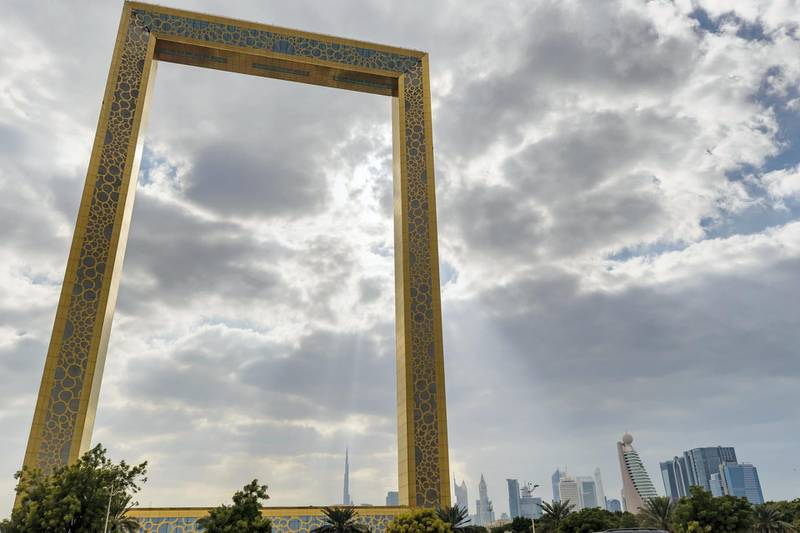 Dubai, United Arab Emirates - January 4th, 2018: The Dubai frame with downtown in the background. Thursday, January 4th, 2018 at Dubai Frame, Dubai. Chris Whiteoak / The National