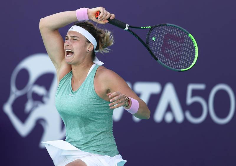 ABU DHABI, UNITED ARAB EMIRATES - JANUARY 12:  Aryna Sabalenka of Belarus in action against  Maria Sakkari of Greece during her women's singles semi final match on Day Seven of the Abu Dhabi WTA Women's Tennis Open at Zayed Sports City  on January 12, 2021 in Abu Dhabi, United Arab Emirates. (Photo by Francois Nel/Getty Images)