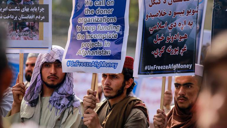 An image that illustrates this article Protesters in Kabul demand the US release billions held in foreign reserves
