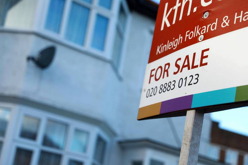 epa06418344 A sign advertising a house sale is displayed outside a residential property in London, Britain, 05 January 2018. London property prices went into decline in 2017 for the first time since 2009. The average price of a home in London fell 0.5 per cent in 2017 to £470,922  EPA/NEIL HALL