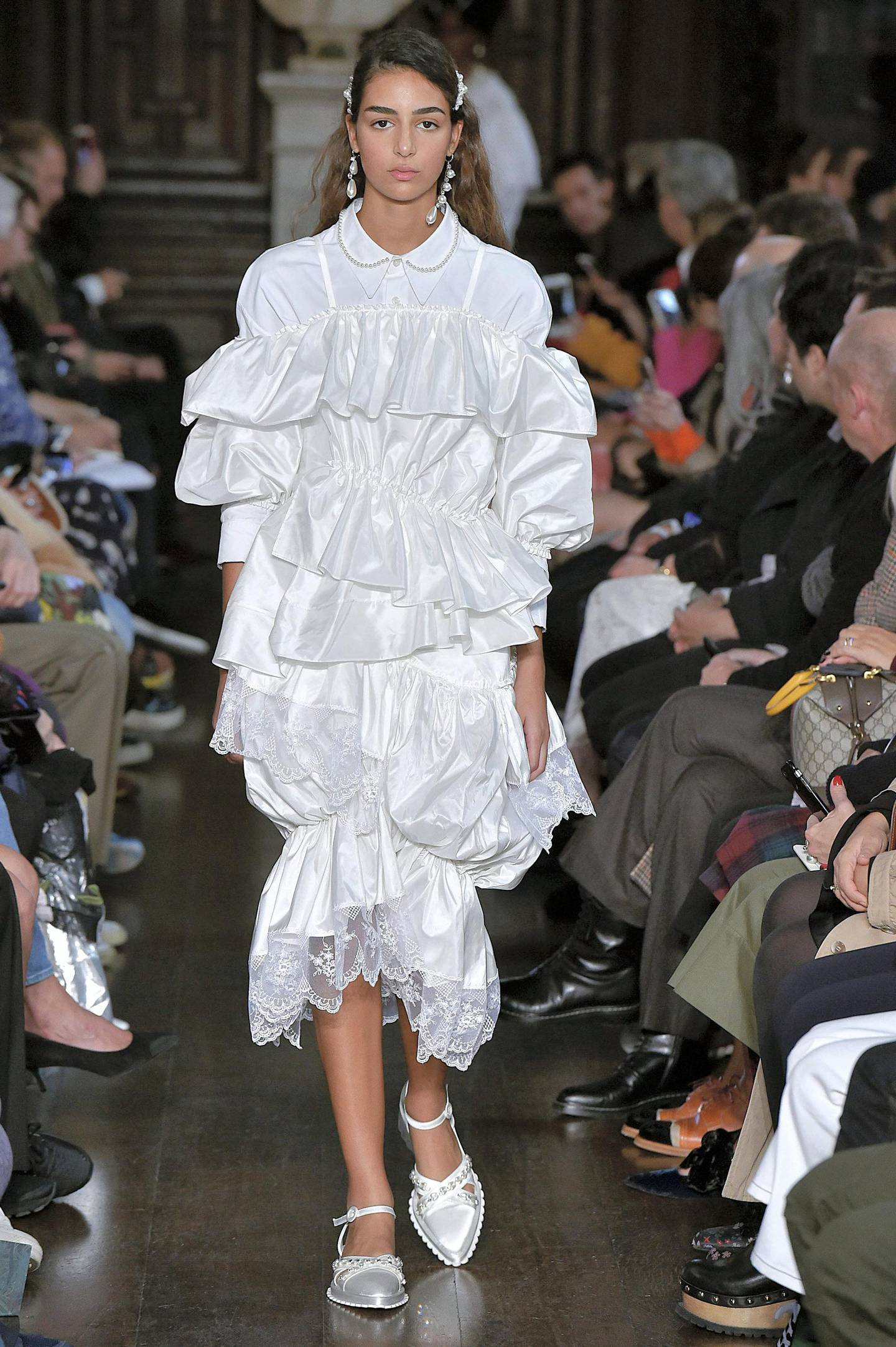 LONDON, ENGLAND - SEPTEMBER 16:  A model walks the runway at the Simone Rocha Spring Summer 2018 fashion show during London Fashion Week on September 16, 2017 in London, United Kingdom.  (Photo by Catwalking/Getty Images)