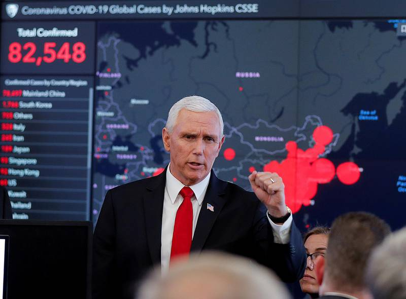 """FILE PHOTO: U.S. Vice President Mike Pence speaks during a tour of the """"secretary's operation center"""" following   a coronavirus task force meeting at the Department of Health and Human Services (HHS) in Washington, U.S., February 27, 2020. REUTERS/Carlos Barria/File Photo"""