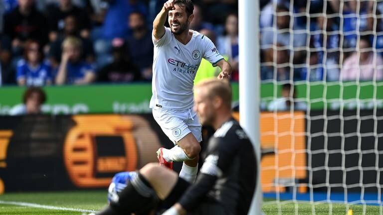An image that illustrates this article Leicester v Man City ratings: Schmeichel 8, Bernardo Silva 7, Gabriel Jesus 5