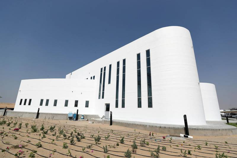 Dubai, United Arab Emirates - October 23, 2019: The opening of the largest 3D printed two-story structure in the world. Wednesday the 23rd of October 2019. Warsan, Dubai. Chris Whiteoak / The National
