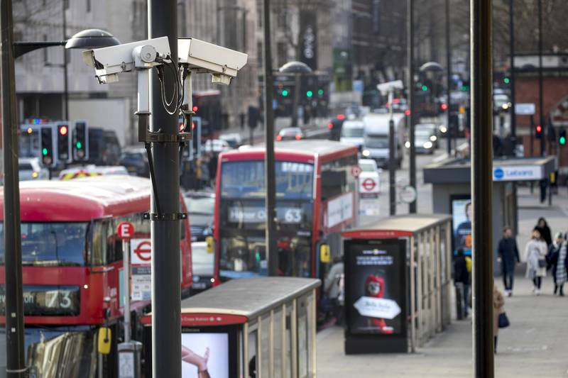 """Security cameras sit on a pole near London St. Pancras railway station in London, U.K. on Monday, Jan. 6, 2020. The Precision Economy is """"a future of hyper-surveillance"""", where technological progress is moderate, but a proliferation of sensors allows firms to create value by capturing and analyzing more information on objects, people and the environment, according to the U.K.s Royal Society for the encouragement of Arts, Manufactures and Commerce. Photographer: Jason Alden/Bloomberg via Getty Images"""