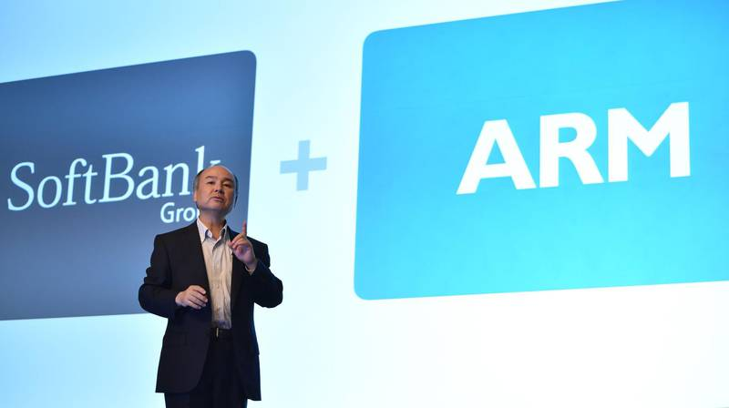 (FILES) This file picture taken on July 28, 2016 shows SoftBank Group Representative Masayoshi Son speaking at a press conference to announce the company's financial results in Tokyo. Japan's SoftBank Group said on September 14 it is selling British chip designer Arm to US chip company NVIDIA for up to 40 billion USD, potentially creating a new giant in the industry. - XGTY  / AFP / Kazuhiro NOGI / XGTY