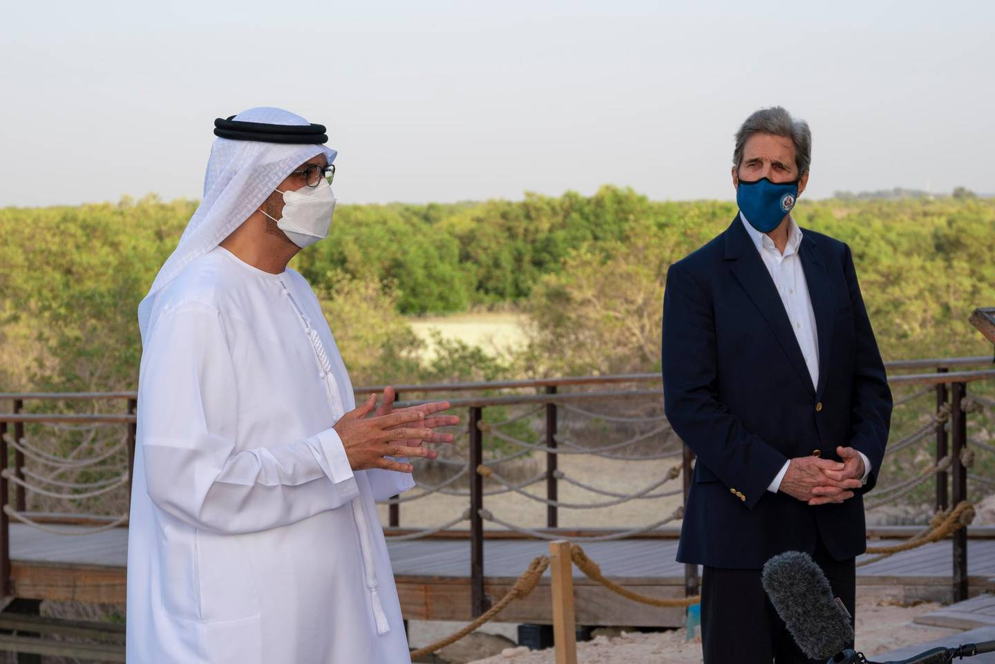 HI-RES. Us Special Presidential Envoy for Climate John Kerry  with UAE Special Envoy for Climate Change and Abu Dhabi National Oil Company CEO, Sultan Ahmed Al Jaber, during a visit to Jubail Mangrove Park, in Abu Dhabi, United Arab Emirates April 3, 2021. Office of the UAE Special Envoy for Climate Change