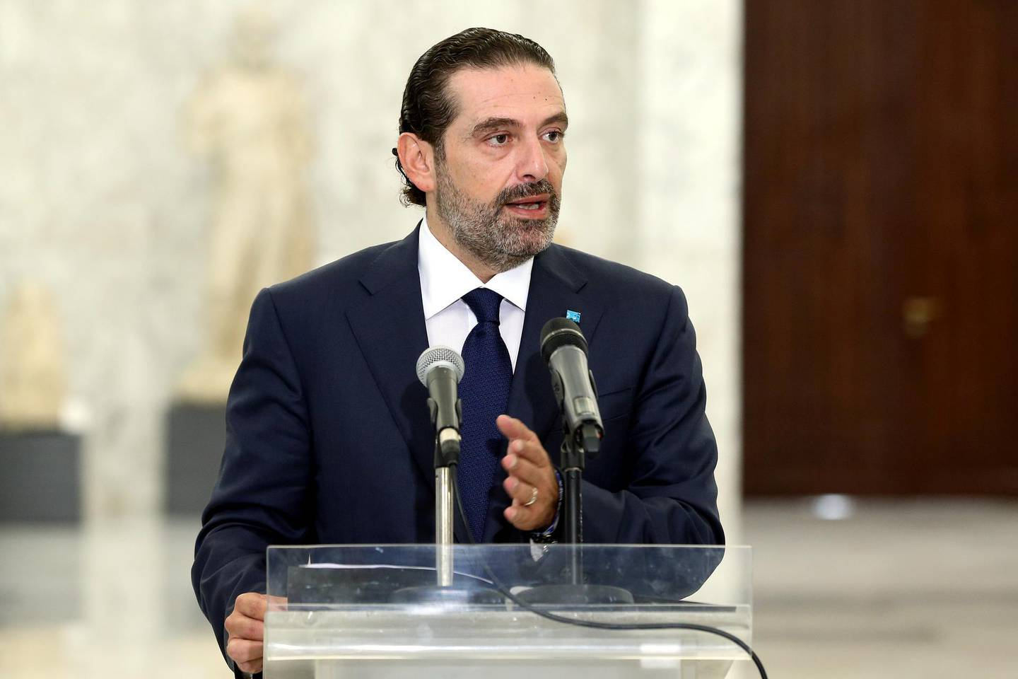 Former Prime Minister Saad al-Hariri speaks at the presidential palace in Baabda, Lebanon October 12, 2020. Dalati Nohra/Handout via REUTERS ATTENTION EDITORS - THIS IMAGE WAS PROVIDED BY A THIRD PARTY