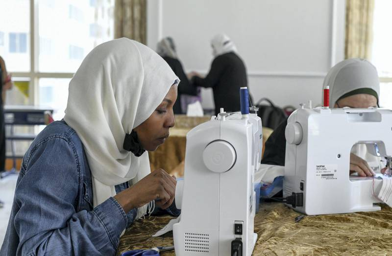 Lotus Training Centre-AD Hawa Hamed originally from Chad, arrived to Abu Dhabi 2 years ago and is mastering the sewing art, at Lotus Holistic Retal Training Centre on June 22, 2021. Khushnum Bhandari/ The National Reporter: Haneen Dajani News