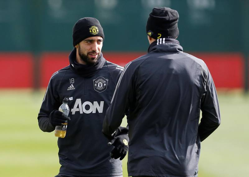 Soccer Football - Europa League - Manchester United Training - Aon Training Complex, Manchester, Britain - March 11, 2020   Manchester United's Bruno Fernandes during training   Action Images via Reuters/Craig Brough