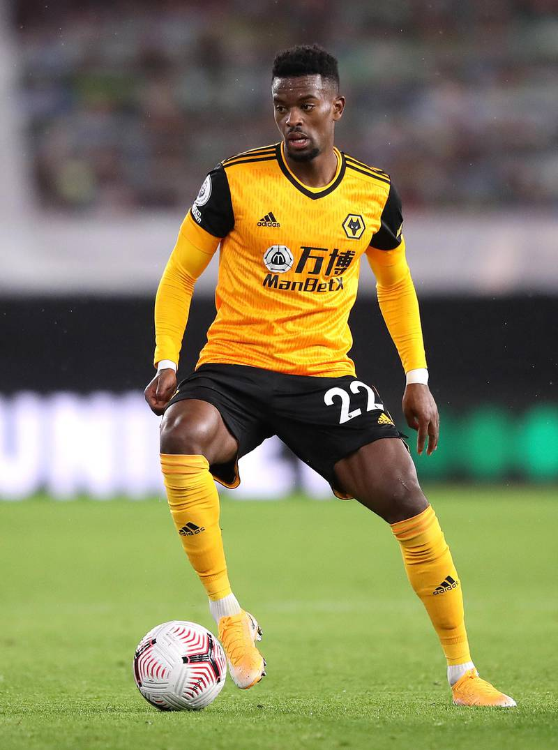 WOLVERHAMPTON, ENGLAND - OCTOBER 25: Nelson Semedo during the Premier League match between Wolverhampton Wanderers and Newcastle United at Molineux on October 25, 2020 in Wolverhampton, England. Sporting stadiums around the UK remain under strict restrictions due to the Coronavirus Pandemic as Government social distancing laws prohibit fans inside venues resulting in games being played behind closed doors. (Photo by Alex Pantling/Getty Images)