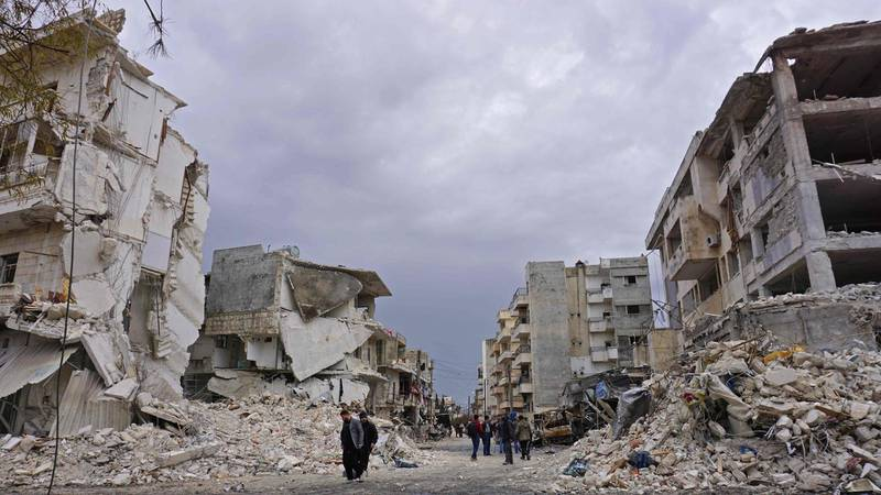 (FILES) In this file photo taken on March 14, 2019 shows destruction following an airstrike in the jihadist-held city of Idlib, northwestern Syria. Russia on August 1 welcomed a decision by the Syrian government to agree to a truce in the northwestern region of Idlib, Moscow's Syria envoy said. / AFP / Muhammad HAJ KADOUR