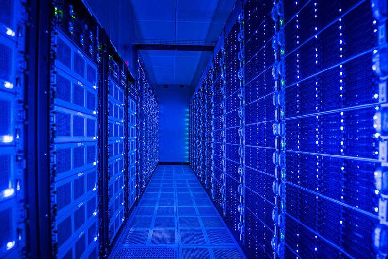 Illuminated computer equipment in server room. Getty Images