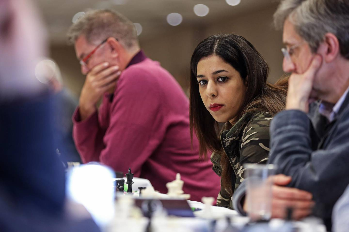 MAIDENHEAD, UNITED KINGDOM - FEBRUARY 8: Iranian chess arbiter Shohreh Bayat competes in a Four Nations Chess League tournament at a Holiday Inn on February 07, 2020 in Maidenhead, England.  Ms. Bayat, an arbiter with the chess governing body FIDE, was presiding over a tournament in China in January when a picture of her appearing not to wear a hijab circulated in Iranian media. Commentary in the press and online accused her of flouting Iranian law, which requires women to wear a headscarf when appearing in public. Seeing this response, Ms. Bayat quickly grew afraid of returning to her country, worried she would be arrested. She is now staying with friends in the United Kingdom, where she says she is considering her options, unsure of what the future holds. (Photo by Hollie Adams/Getty Images)