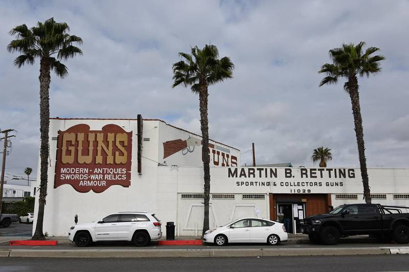 The Martin B. Retting gun shop in Culver City, California is seen, March 24, 2020. - As part of the coronavirus stay-at-home order Los Angeles County Sheriff Alex Villanueva on Tuesday said gun shops are nonessential businesses and if they donÕt close their doors, they will be cited and face the loss of their business licenses. (Photo by Robyn Beck / AFP)