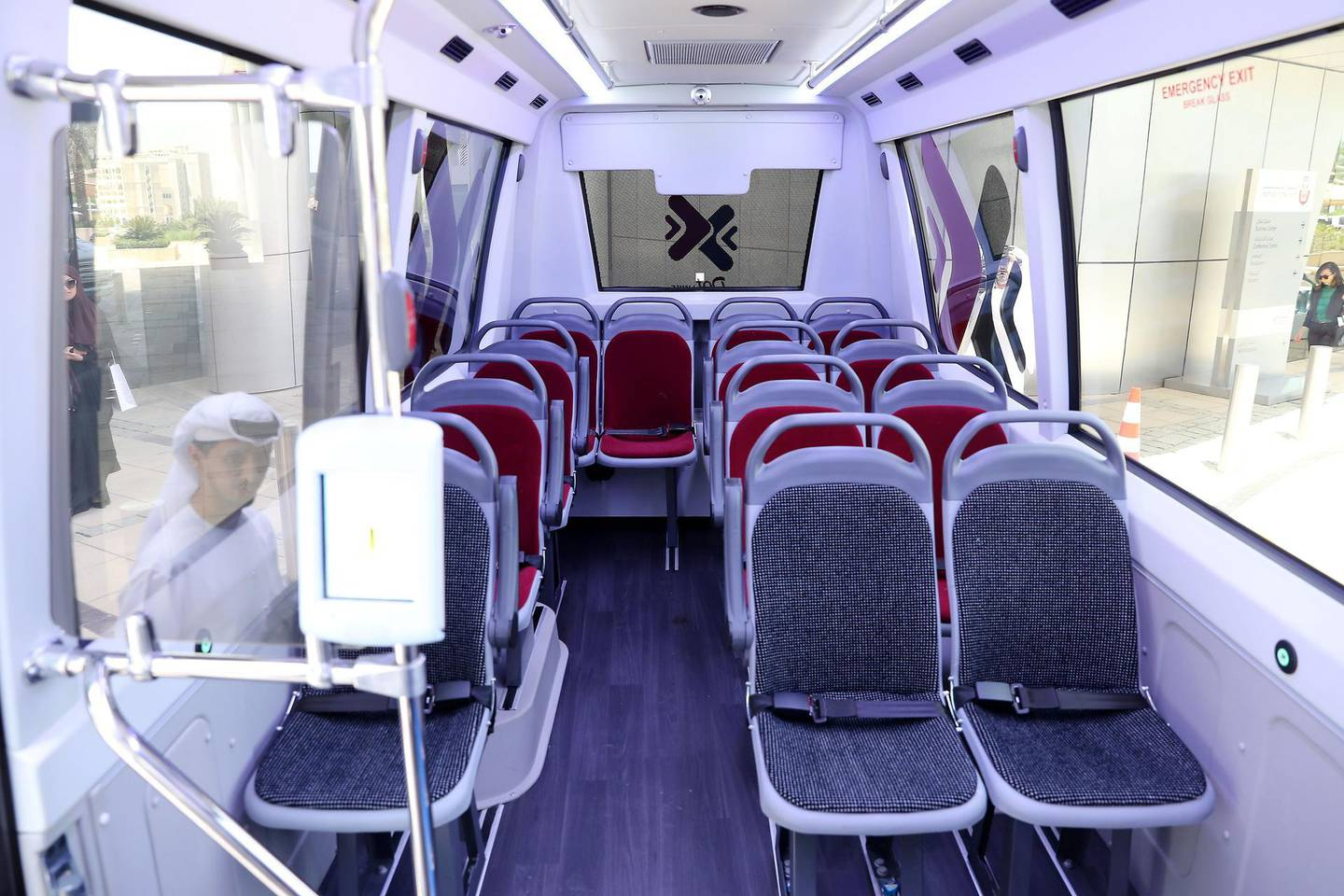 ABU DHABI ,  UNITED ARAB EMIRATES , AUGUST 20 – 2019 :- Interior of the Dot Links bus after the press conference about the latest updates of the public transport sector at the Department of Transport HQ in Abu Dhabi. ( Pawan Singh / The National ) For News. Story by Haneen
