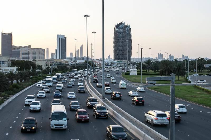 Abu Dhabi, United Arab Emirates. April 24, 2017///Rush hour traffic. Abu Dhabi, United Arab Emirates. Mona Al Marzooqi/ The National ID: 43686Section: National  *** Local Caption ***  170424-MM-traffic-001.JPG
